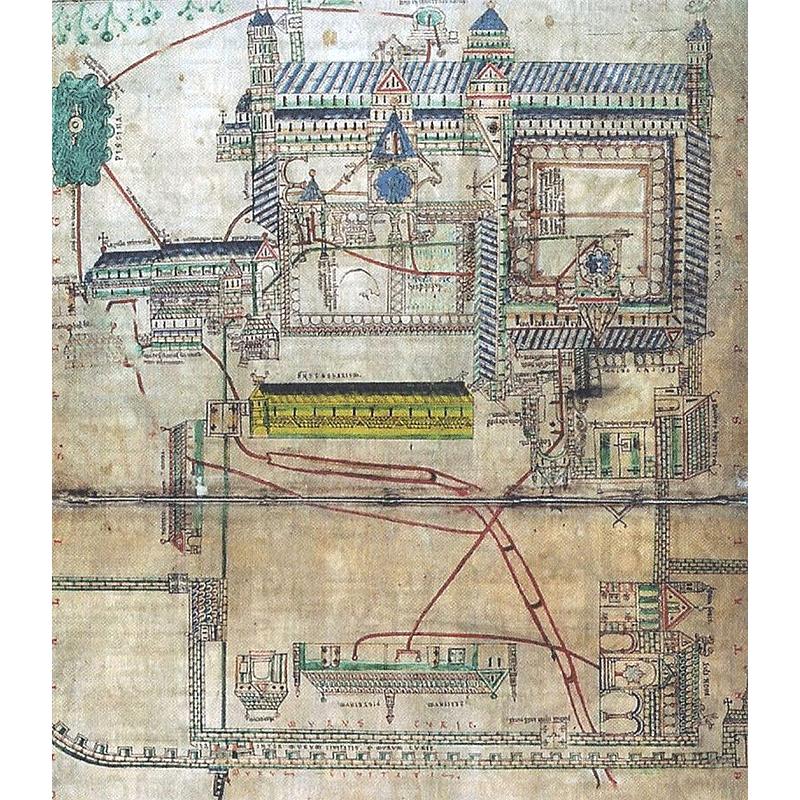 Диаграмма сточных вод монастыря Крайстчерч, Кентербери (1167 г.)