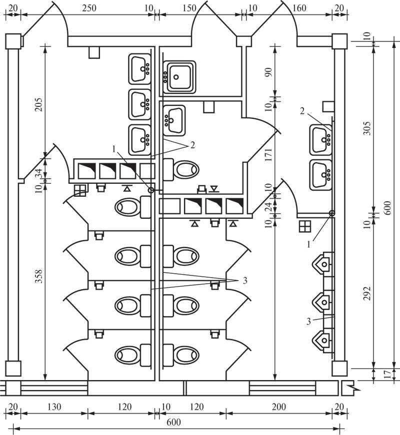 Открытая прокладка трубопроводов в сблокированных санузлах: