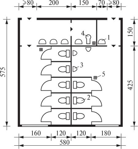 Планировочное решение санитарных узлов (туалетов) с кабинами