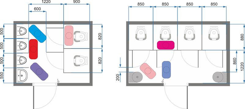 Планировка модульного туалета с нарушениями эргономики